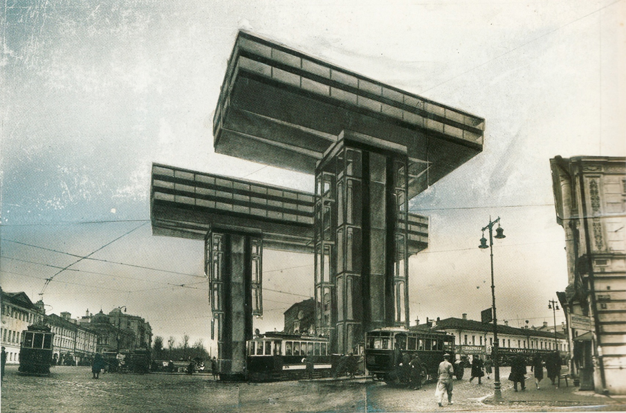 Photomontage of the Wolkenbügel by El Lissitzky, 1925 (or 1923)